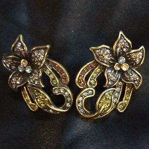 Heidi Daus Swarovski Crystal Flower Earrings